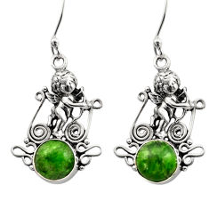 Clearance Sale- 6.26cts natural green chrome diopside 925 sterling silver angel earrings d40798