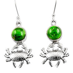 6.63cts natural green chrome diopside 925 sterling silver crab earrings d39734