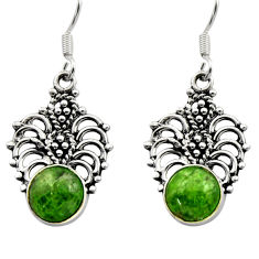 Clearance Sale- 6.39cts natural green chrome diopside 925 sterling silver dangle earrings d40781