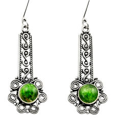 6.53cts natural green chrome diopside 925 sterling silver dangle earrings d40782