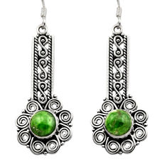 Clearance Sale- 6.18cts natural green chrome diopside 925 sterling silver dangle earrings d40786