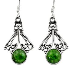 6.38cts natural green chrome diopside 925 sterling silver dangle earrings d40787