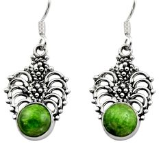 6.72cts natural green chrome diopside 925 sterling silver dangle earrings d40792