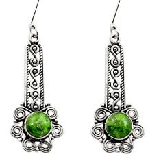 Clearance Sale- 6.53cts natural green chrome diopside 925 sterling silver dangle earrings d40795