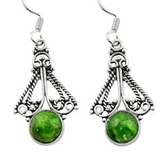 Clearance Sale- 6.03cts natural green chrome diopside 925 sterling silver dangle earrings d40800