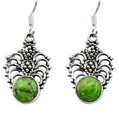 6.44cts natural green chrome diopside 925 sterling silver dangle earrings d40816