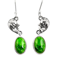 13.08cts natural green chrome diopside 925 sterling silver fish earrings d39729