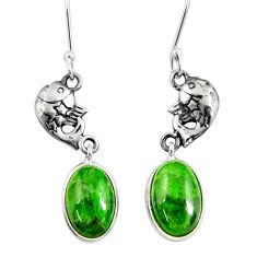 8.05cts natural green chrome diopside 925 sterling silver fish earrings d40381