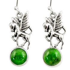 6.33cts natural green chrome diopside 925 sterling silver horse earrings d39918