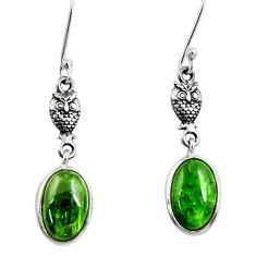 7.46cts natural green chrome diopside 925 sterling silver owl earrings d39730
