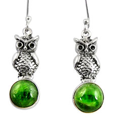 Clearance Sale- 6.51cts natural green chrome diopside 925 sterling silver owl earrings d39740