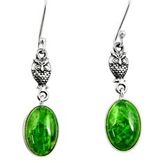 8.80cts natural green chrome diopside 925 sterling silver owl earrings d40382
