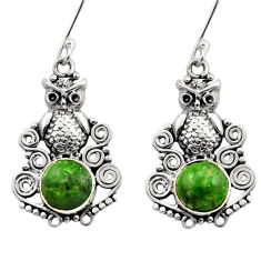 6.02cts natural green chrome diopside 925 sterling silver owl earrings d40797