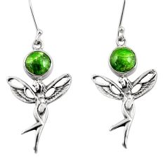 6.85cts natural green chrome diopside silver angel wings fairy earrings d39722
