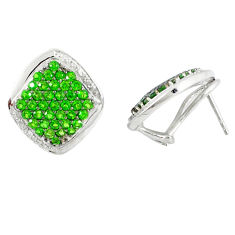 Natural green chrome diopside topaz 925 silver stud earrings jewelry c20692