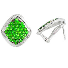 Natural green chrome diopside topaz 925 silver stud earrings jewelry c20693