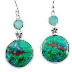 14.73cts natural green chrysocolla chalcedony 925 silver dangle earrings d45745
