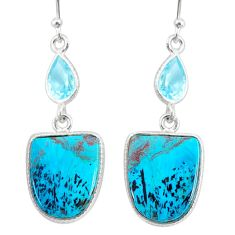 14.67cts natural green chrysocolla topaz 925 silver dangle earrings r86901