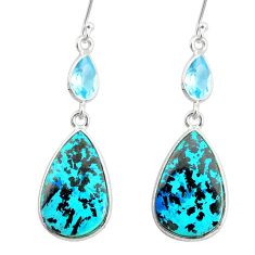 19.92cts natural green chrysocolla topaz 925 silver dangle earrings r86902
