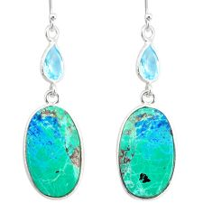 17.60cts natural green chrysocolla topaz 925 silver dangle earrings r86903