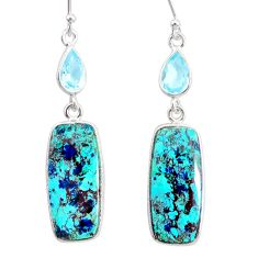 18.51cts natural green chrysocolla topaz 925 silver dangle earrings r86905