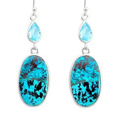 17.22cts natural green chrysocolla topaz 925 silver dangle earrings r86906