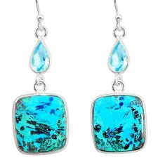 14.83cts natural green chrysocolla topaz 925 silver dangle earrings r86907