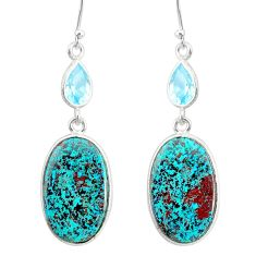 16.47cts natural green chrysocolla topaz 925 silver dangle earrings r86909