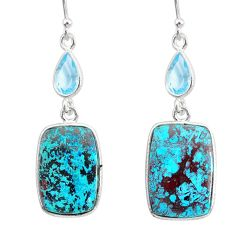 17.22cts natural green chrysocolla topaz 925 silver dangle earrings r86911