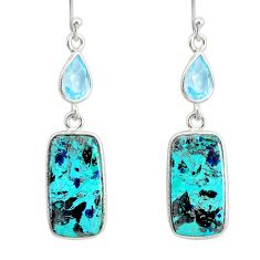 16.33cts natural green chrysocolla topaz 925 silver dangle earrings r86914
