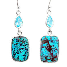 16.06cts natural green chrysocolla topaz 925 silver dangle earrings r86915