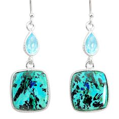 16.68cts natural green chrysocolla topaz 925 silver dangle earrings r86916