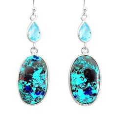 20.98cts natural green chrysocolla topaz 925 silver dangle earrings r86919