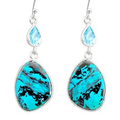 17.28cts natural green chrysocolla topaz 925 silver dangle earrings r86927