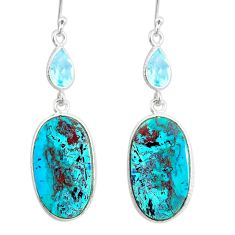 14.38cts natural green chrysocolla topaz 925 silver dangle earrings r86928