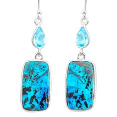 17.05cts natural green chrysocolla topaz 925 silver dangle earrings r86930