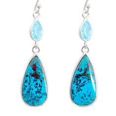 15.75cts natural green chrysocolla topaz 925 silver dangle earrings r86931