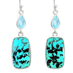 20.24cts natural green chrysocolla topaz 925 silver dangle earrings r86933