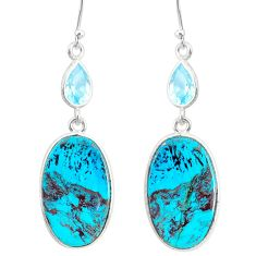 18.63cts natural green chrysocolla topaz 925 silver dangle earrings r86934