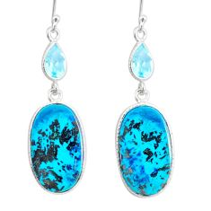 17.55cts natural green chrysocolla topaz 925 silver dangle earrings r86936