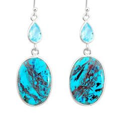 19.00cts natural green chrysocolla topaz 925 silver dangle earrings r86937