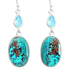 17.88cts natural green chrysocolla topaz 925 silver dangle earrings r86938