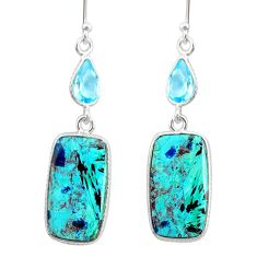 13.66cts natural green chrysocolla topaz 925 silver dangle earrings r86940