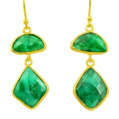 14.67cts natural green emerald 925 silver 14k gold dangle earrings r32596