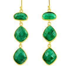 25.83cts natural green emerald 925 silver 14k gold dangle earrings r32674
