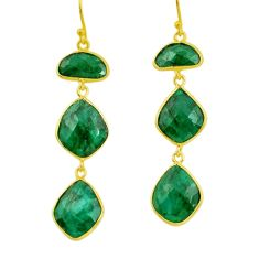 25.89cts natural green emerald 925 silver 14k gold dangle earrings r32678