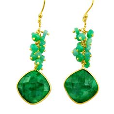 24.49cts natural green emerald 925 silver 14k gold dangle earrings r32772