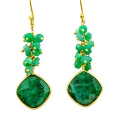 25.83cts natural green emerald 925 silver 14k gold dangle earrings r32773