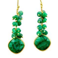 34.85cts natural green emerald 925 silver 14k gold dangle earrings r32776