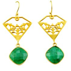 12.91cts natural green emerald 925 silver 14k gold dangle earrings r32849